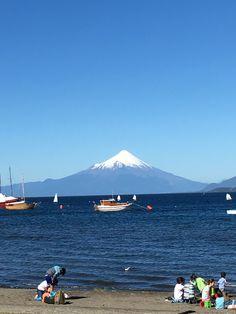 lago y volcán Villarrica desde foto tomada desde Pucón