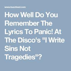 Panic! At the Disco - I Write Sins Not Tragedies Lyrics