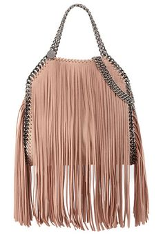 94df23250daa Stella McCartney faux-leather (polyester) tote bag with allover fringe.  Signature gunmetal curb chain and whipstitching. Top handles with logo  disc