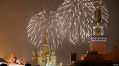 Fireworks in Moscow as they celebrate midnight (three hours ahead of Greenwich)