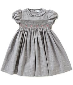 Edgehill Collection Little Girls Dotted Smocked Dress Smocked Baby Clothes, Girls Smocked Dresses, Little Girl Dresses, Pregnancy Fashion Winter, Kids Robes, Kids Dress Wear, Baby Frocks Designs, Baby Girl Fashion, Kids Outfits