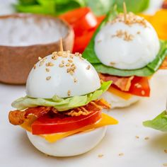 These BLT Egg 'Buns' are the Perfect Protein Breakfast or Snack! - These BLT Egg 'Buns' are the Perfect Protein Breakfast or Snack! Clean Recipes, Gourmet Recipes, Low Carb Recipes, Appetizer Recipes, Snack Recipes, Cooking Recipes, Healthy Recipes, Low Carb Food, Carb Free Meals