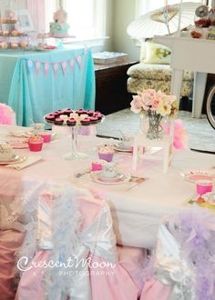 Decorated chairs at a Tea Party birthday!    See more party ideas at CatchMyParty.com!