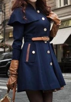 Navy Long Sleeve Drawstring Waist Cape Coat pictures