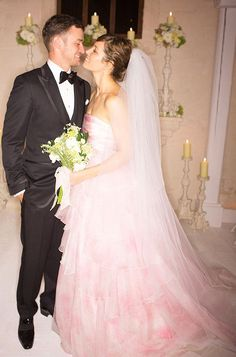 Jessica Biel's wedding dress...  Touch of pink? Undecided but it's beautiful none the less x