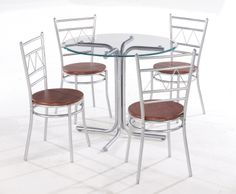 Renata  A circular, contemporary design glass topped table, with metal disc fastening and chrome effect pedestal, with 4 co-ordinating circular seated chairs featuring a wood effect finish. Comes flat packed in one carton for easy storage and handling. This set comes at a price perfect for price driven promotions.  Table Dimensions: Diameter: 900mm x H760mm Chair Dimensions: W415mm x D415mm x H875mm