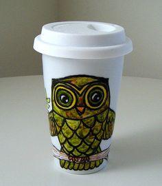 Ceramic Travel Mug Personalize Custom Owl Woodland Family Tree Eco Friendly Painted Folk by sewZInski