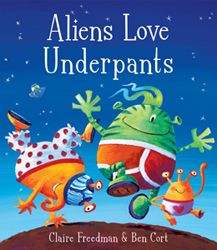 A fun book filled with pant-loving naughty aliens who come to Earth to look for pants.  Great illustrations.