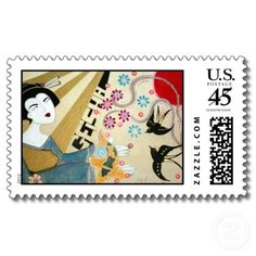 """Geisha"" Asian Art Japanese Postage Stamps"