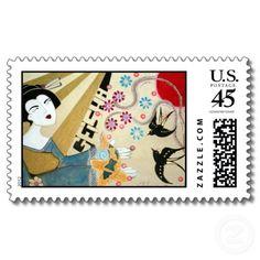 """Geisha"" Asian Art Japanese Postage Stamps"