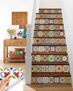 Sticker Set Mexican Tile Tile Stickers Decorative Tiles | Etsy Tile Decals, Vinyl Tiles, Black Interior Doors, Decorative Tile, Staircase Design, Autumn Home, Furniture Sale, Porch Decorating, Decorative Accessories
