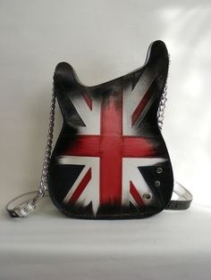 Leather purse. Handmade Eco Sustainable Leather Bag. Union Jack Guitar Shaped Bag. Handbag. LARGE Strato Bag.Crossbody Bag. Made to order by dECOnstructionLab on Etsy https://www.etsy.com/listing/161059296/leather-purse-handmade-eco-sustainable