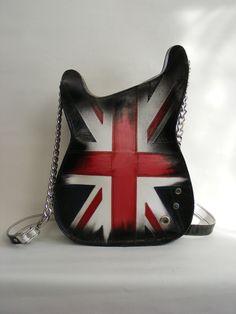 Leather purse. Handmade Eco Sustainable Leather Bag. Union Jack Guitar Shaped Bag. Handbag. LARGE Strato Bag.Crossbody Bag. Made to order by dECOnstructionLab on Etsy https://www.etsy.com/listing/161059296/leather-purse-handmade-eco-sustainable