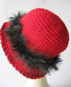 black fringes around the red hat  red crochet by SEVILSBAZAAR, $25.00