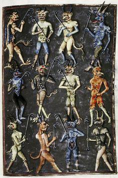 pack of devils Livre de la Vigne nostre Seigneur, France ca. 1450-1470. Bodleian, MS. Douce 134, fol.99r