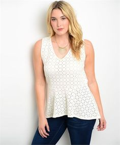 CHIC TRENDY PEPLUM  WHITE  PLUS SIZE TOP  #Unbranded #Peplum #Casual