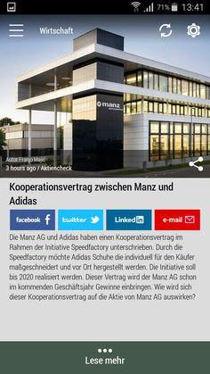 #Born2Invest: die besten Geschäfts- und Finanznachrichten aus den vertrauenswürdigen Quellen. Jetzt unsere kostenlose Android App herunterlade. #adidas #manz #speedfactory #wirtschaft