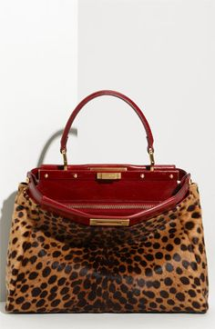 Fendi 'peekaboo'  leopard calf hair satchel