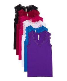 Look at this #zulilyfind! Fuchsia & Maroon Lace-Trim Camisole Set #zulilyfinds