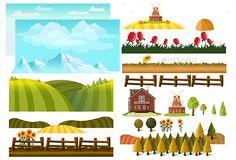 Farm Landscape Creator Vector Template Design - #Farm #Landscapes #Creator #Nature #Template #Design. Download here: https://graphicriver.net/item/farm-landscape-creator/19499509?ref=yinkira