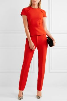 Bright-red stretch-crepe Hook and zip fastening at back 67% polyester, 29% viscose, 4% elastane; lining: 68% acetate, 32% polyester Dry clean