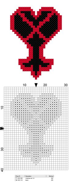 Free geeky cross stitch pattern from CraftTimeinArkham on Etsy! Heartless symbol from Kingdom Hearts video game.