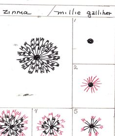 Zinnia. Tangle Pattern by Millie Galliher.