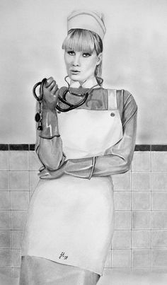 """Nurse Markise returns to the clinic. """"Yes, the disciplinary tribunal found in my favour. Latex Uniform, Nylons, Blouse Nylon, Pvc Apron, Cruel Intentions, Sexy Nurse, Nursing Clothes, Pulp Art, Mistress"""