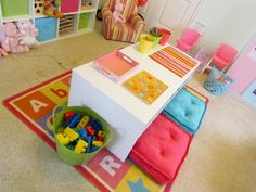 Kids art table, dress-up station, & other play room ideas