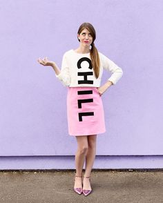 Use a pink dress and a cropped sweatshirt to make a DIY chill pill costume for Halloween! Go as a group or go it alone! Could you like chill for a sec… – Sweatshirt Easy Diy Costumes, Diy Halloween Costumes For Women, Last Minute Halloween Costumes, Halloween Kostüm, Costume Ideas, Group Halloween, Halloween Office, Costumes Kids, Halloween Decorations
