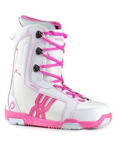 Westige women's pink snowboard boots...to die for!! And apparently super comfy...how cute is that retro look!? :D #snowboard #pink