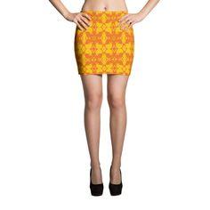 Orange & Yellow Pattern Mini Skirt