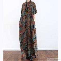 Original prints casual linen dresses plus size vintage sundress short sleeve  maxi dress c68cc0c9e