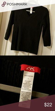 AK SPORT CABLE KNIT CREWNECK SWEATER ANNE KLEIN SPORT  87% Cotton 11% Nylon 2% Spandex Anne Klein Sweaters Crew & Scoop Necks