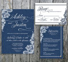 Country Chic wedding invitation  in Denim and Lace! Three denim colors to choose from: light, dark, and vintage. The country wedding invitation set can include the invite, RSVP, and Info card. Rustic elegance at its best! LangDesignShop via Etsy