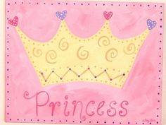 girl kids room decor...baby nursery wall art...original canvas painting...hand painted artwork...11 x 14 princess crown personalized pink