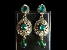 Designer Ethnic India Classic Green Polki Earring Copper Jewelry Traditional #RK