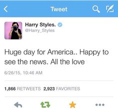 Harry tweeted this because Gay Marriage is now legal in all 50 states