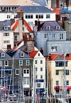 Painterly Buildings line the shore of St. Peter Port, Guernsey, Channel Islands