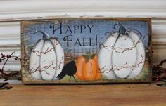 Fall wood block Happy Fall sign Fall decor Pumpkin by TinSheepShop