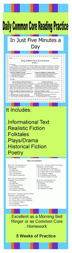 {Daily Common Core Reading Practice} MORE THAN 10 COMMON CORE STANDARDS ARE COVERED. Informational Text, realistic fiction, historical fiction, plays/drama and more are included. Many standards repeat across the weeks for steady review. Students build content area knowledge as they review for Common Core. FIVE WEEKS ARE INCLUDED