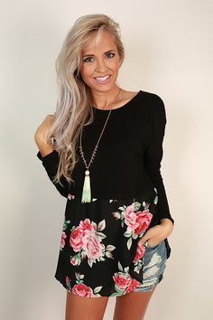 Secret Garden Chiffon Tee in Black