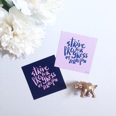 Strive for progress not perfection. Handlettering | Courtney Shelton