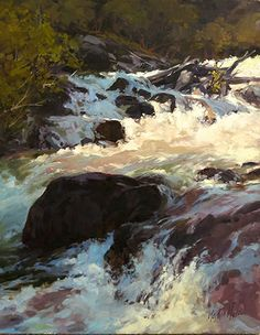 "Marty Mans, ""Rapid Creek Cascade — Bighorns,"" 2015, oil, 20 x 16 in."