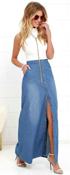 We& giving the Rejoice Blue Chambray Maxi Skirt quite a few hip hip hoorays! Lightweight chambray creates a high banded waist above rounded front pockets, and straight-cut maxi skirt. Front slit adjusts via the full-length, brass, snap-button placket. Trendy Dresses, Casual Dresses, Casual Outfits, Casual Shirts, Casual Heels, Colourful Outfits, Simple Outfits, Denim Fashion, Trendy Fashion