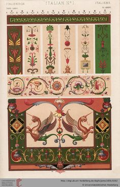 Tafel LXXXVI. Italian Plate (1 of 6).  Owen Jones, The Grammar of Ornament.  Thanks to the University of Heidelberg digital library.