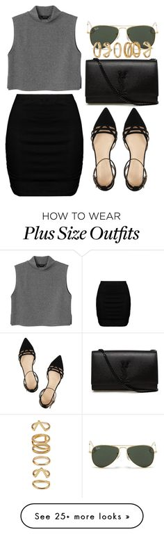 """""""Untitled #308"""" by kaylan-jayne on Polyvore featuring Yves Saint Laurent, Monki, Zizzi, J.Crew, Ray-Ban and Forever 21"""