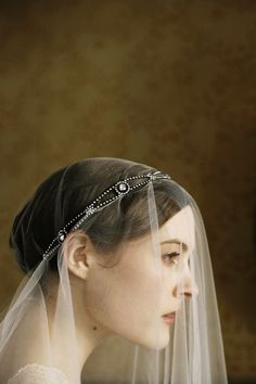 Asteria Headwrap over veiling, by Jennifer Behr bridal :: Vintage Dress :: Photography by Belathée :: wedding :: headwrap :: bride :: crystal :: veil