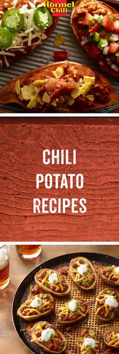 The way we play hot potato in Chili Nation is by filling them with chili and baking them in the oven. Try these loaded chili potato recipes for a satisfying meal.   | HORMEL® Chili | Super Loaded Chili Potato Skins | Chili Stuffed Sweet Potatoes | Chili Potato Recipes