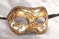 Gold Venetian Masquerade Masks for Men - Vivian Music